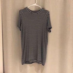 Black and white striped T-shirt dress